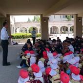 高橋校長先生のウエルカムスピーチ。高校生の中に中央幼稚園の卒園生もいるでしょうね。と話していました。