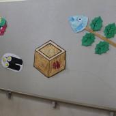 階段踊り場の壁面装飾