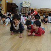 年少組はハイハイ歩きやくまさん歩きをして身体をしっかり動かせるようにしていきました。