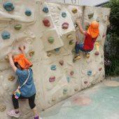 腕と足に力を入れて、ロッククライミングも上まで登ることができます。