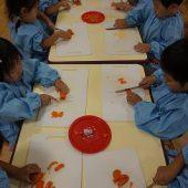 年少組は初めてナイフを持って野菜を切りました。