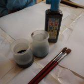 濃い墨汁と薄い墨汁をつくりました。
