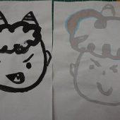同じ墨汁でも、それぞれの個性が出る鬼を描きました。