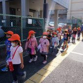 年中組・・・市小学校まで歩いて行きました。
