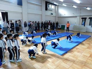 体操参観はマット運動から始まります。