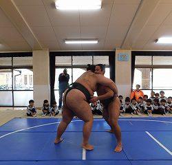 最初にお相撲さんどうしの取り組みを見させて頂きました!
