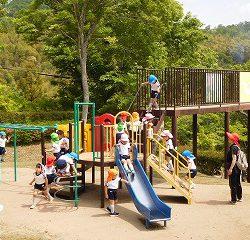 さくら公園では、滑り台や遊具でたくさん遊びました!