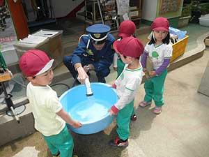 4歳児、亀のたらい掃除