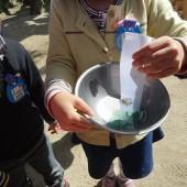実験*お花から出た色水を和紙につけてみたよ